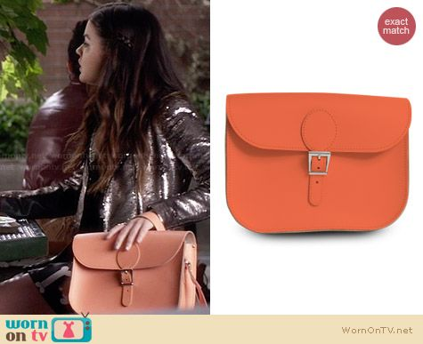 Brit Stitch Full Pint Buckle Bag in Melon worn by Lucy Hale on PLL