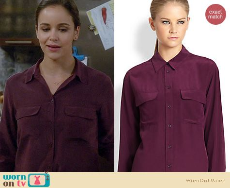 Brooklyn 99 Fashion: Equipment Signature blouse in Cabernet worn by Melissa Fumero