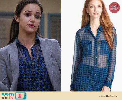 Brooklyn 99 Fashion: Equipment Signature Houndstooth Blouse worn by Melissa Fumero