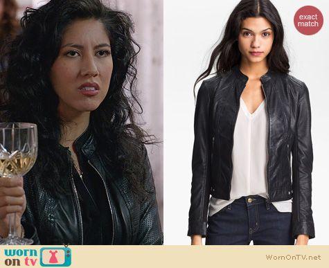 Brooklyn 99 Fashion: La Marque Perforated Leather Jacket worn by Stephanie Beatriz