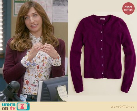 Brooklyn 99 Style: J. Crew Cashmere Cardigan in Plum Orchid worn by Chelsea Peretti