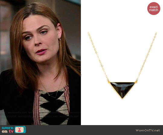 Brooklyn Designs Illiana Black Onyx Triangle Necklace worn by Emiliy Deschanel on Bones