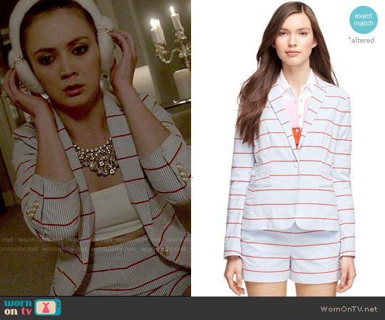 Brooks Brothers One Button Seersucker Jacket and Sailor Shorts worn by Billie Lourd on Scream Queens