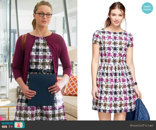 Brooks Brothers Exploded Floral Cotton Gingham Dress worn by Melissa Benoist on Supergirl