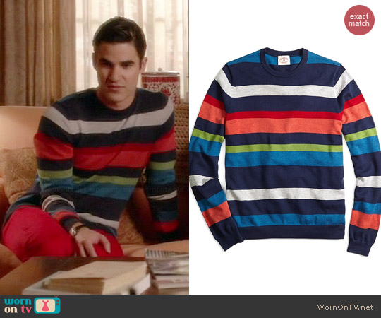 Brooks Brothers Fun Stripe Sweater worn by Darren Criss on Glee