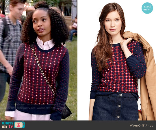 Brooks Brothers Jacquard Floral Sweater worn by Yara Shahidi on Blackish