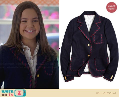 Brooks Brothers Melton Tie Trim Blazer worn by Bailee Madison on Trophy Wife