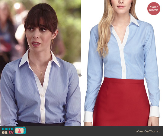 Brooks Brothers Non-Iron Fitted Pinstripe Dress Shirt worn by Cristin Milioti on A to Z
