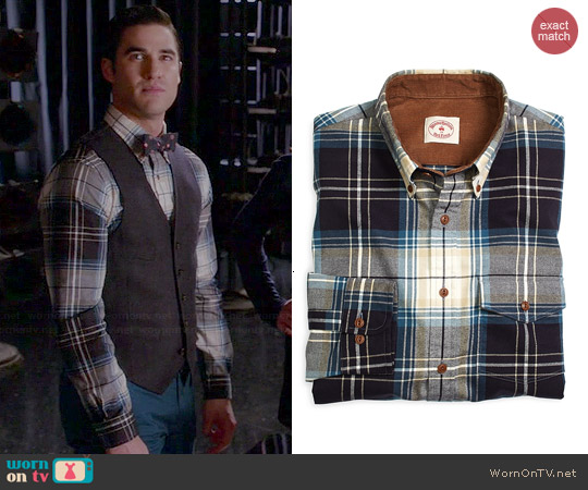 Brooks Brothers Plaid Flannel Shirt worn by Darren Criss on Glee