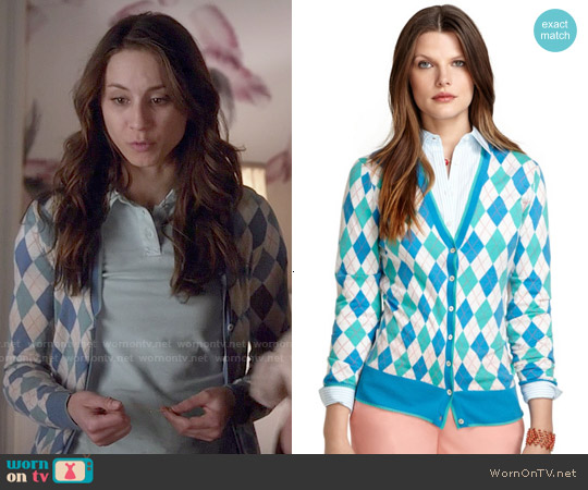 Brooks Brothers Saxxon Wool Argyle Cardigan worn by Troian Bellisario on PLL