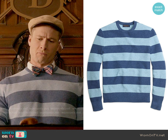 Brooks Brothers Cotton Cashmere Stripe Crewneck Sweater worn by Glen Powell on Scream Queens