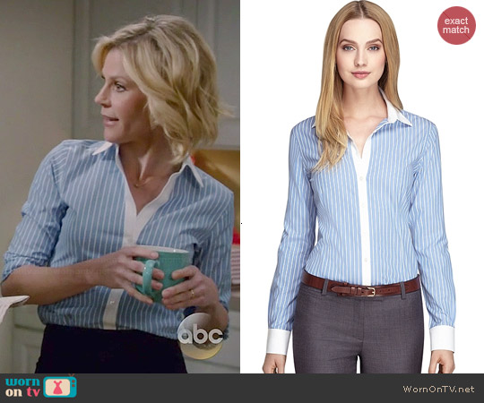 Brooks Brothers Wide Stripe Dress Shirt worn by Julie Bowen on Modern Family
