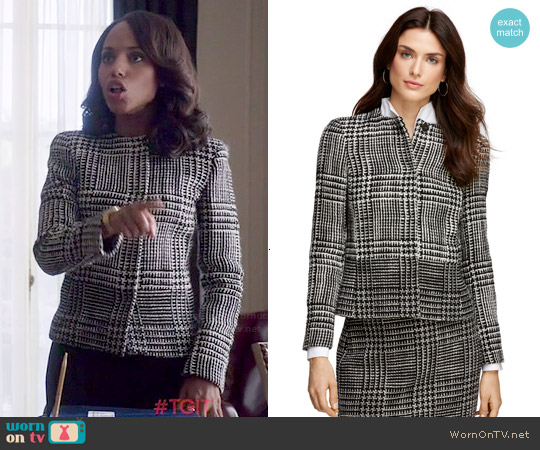 Brooks Brothers Wool Blend Boucle Jacket worn by Kerry Washington on Scandal