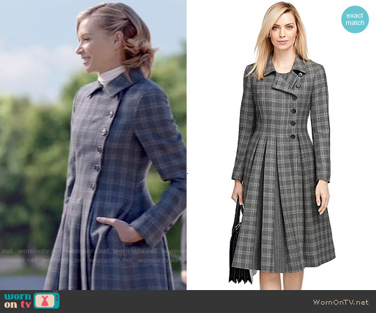 Brooks Brothers Wool Plaid Coat worn by Portia de Rossi on Scandal