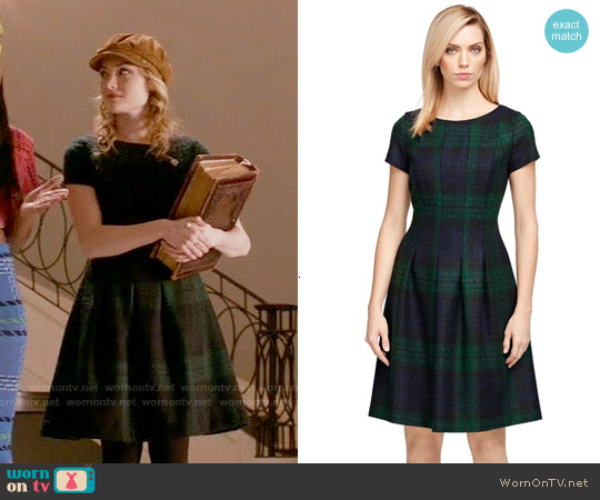 Brooks Brothers Wool Plaid Dress worn by Skyler Samuels on Scream Queens