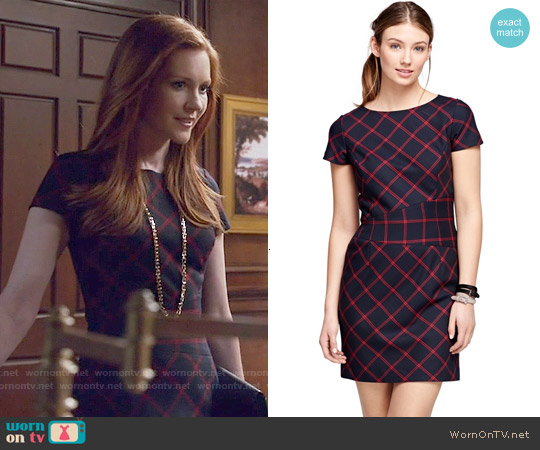 Brooks Brothers Wool Windowpane Dress worn by Darby Stanchfield on Scandal
