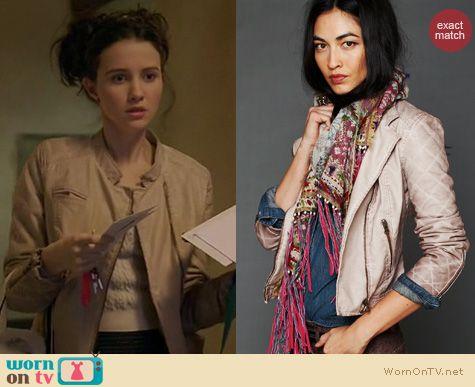 Bunheads Fashion: Free People vegan leather quilted sleeve jacket worn by Julia Goldani Telles
