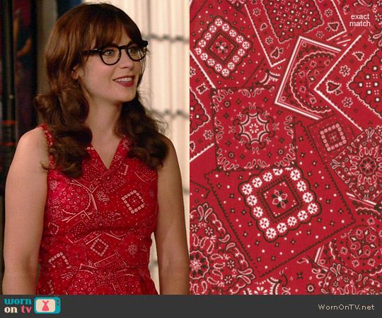 MODA Bunk House Western Bandana Print Fabric Dress worn by Zooey Deschanel on New Girl