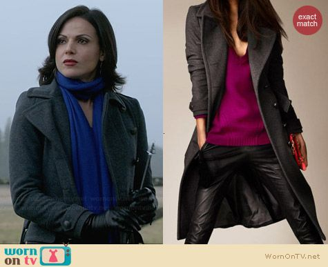 Burberry Wool Cashmere Melton Military Coat worn by Lana Parrilla on OUAT