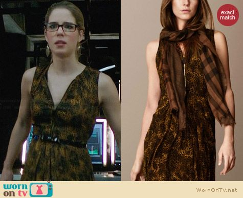 Burberry Animal Print Dress worn by Emily Bett Rickards on Arrow