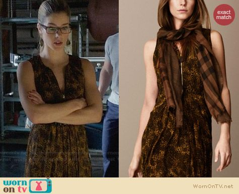 Burberry Animal Print Crepon Silk Dress worn by Emily Bett Rickards on Arrow