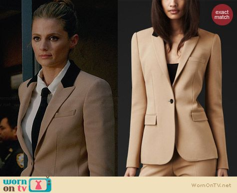 Burberry Beige Contrast Collar Tailored Jacket worn by Stana Katic on Castle