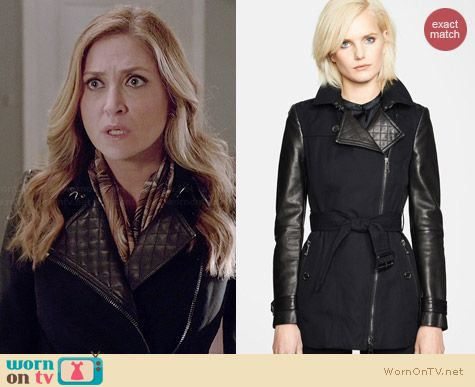 Burberry Brit Asymmetrical Zip Leather Accent Trench Coat worn by Sasha Alexander on Rizzoli & Isles