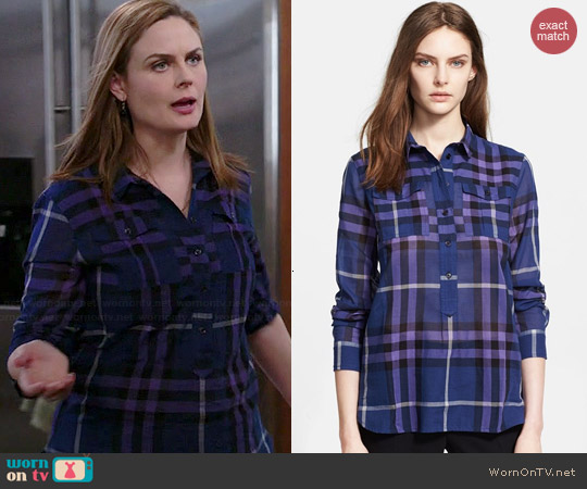 Burberry Brit Check Cotton Shirt worn by Emily Deschanel on Bones