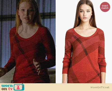 Burberry Brit Check Pattern Merino & Cashmere Sweater worn by Molly Quinn