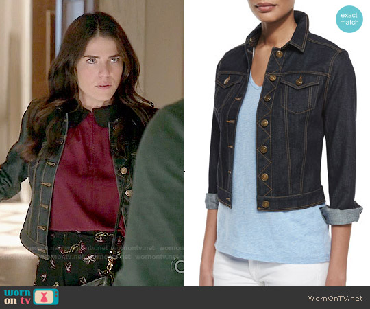 Burberry Brit Denim Cropped Trucker Jacket worn by Karla Souza on HTGAWM