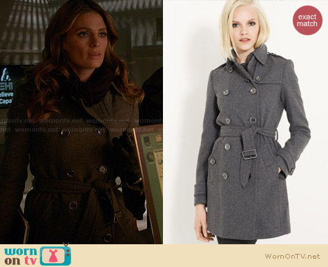 Burberry Brit Double Breasted Wool Trench in Gray worn by Stana Katic on Castle