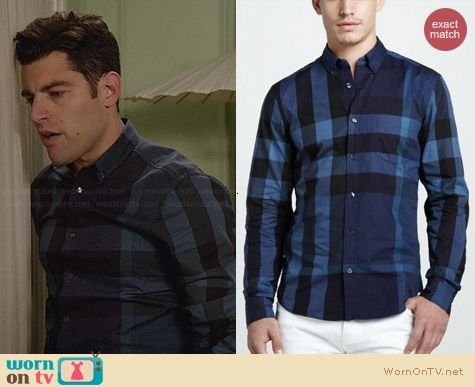 Burberry Brit Large Check Shirt in True Navy worn by Max Greenfield on New Girl