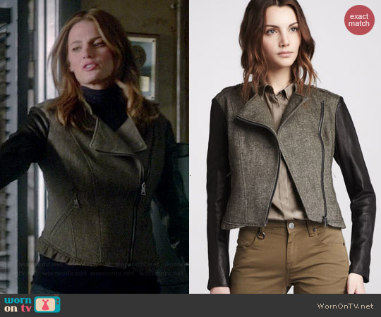 Burberry Brit Leather-Sleeve Textured Jacket worn by Stana Katic on Castle