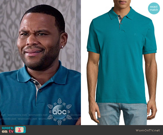 Burberry Brit Short-Sleeve Pique Polo Shirt in Dark Teal worn by Anthony Anderson on Blackish