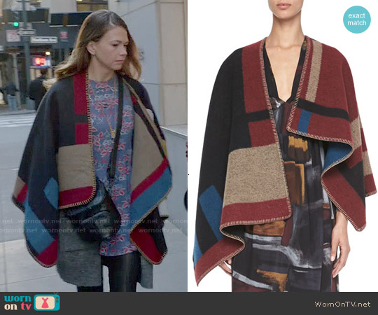 Burberry Check Blanket Poncho worn by Sutton Foster on Younger