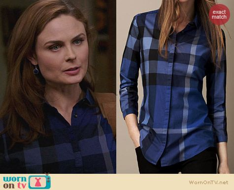 Burberry Check Cotton Shirt in Bright Cobalt Blue worn by Emily Deschanel on Bones