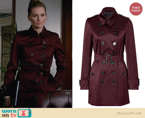 Burberry Claret Double Breasted Trench Coat worn by Stana Katic on Castle