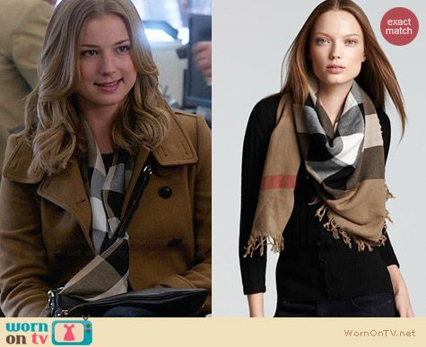Burberry Color Check Wool Scarf worn by Emily Thorne on Revenge