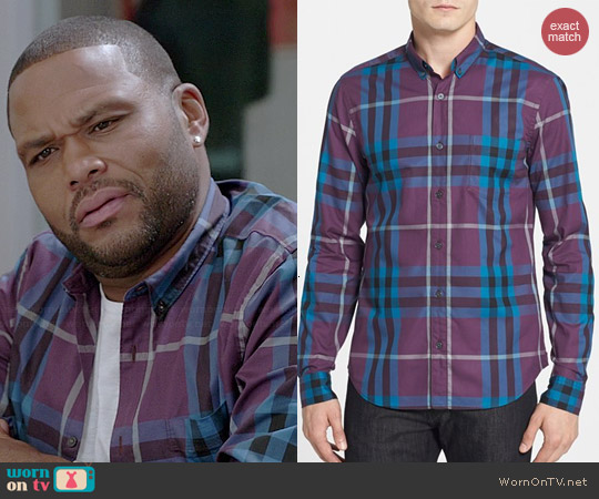 Burberry Dark Purple Check Shirt worn by Anthony Anderson on Black-ish