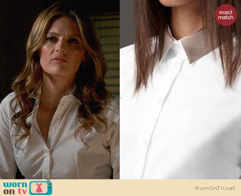 Burberry Detachable Collar Shirt worn by Stana Katic on Castle