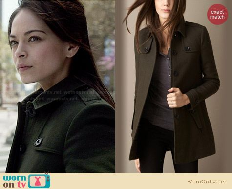 Burberry Double Wool Twill Coat worn by Kristin Kreuk on BATB