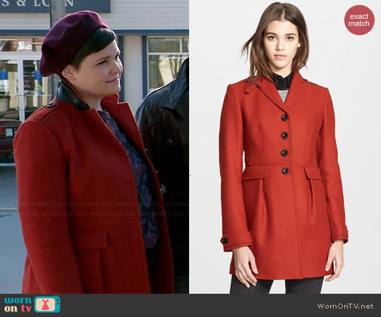 Burberry Elmwynn Leather Trim Coat worn by Ginnifer Goodwin on OUAT