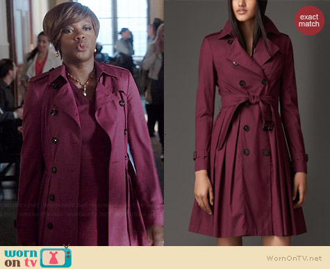 Burberry Long Full Skirted Wool Silk Trench Coat worn by Viola Davis on HTGAWM