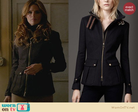 Burberry Funnel Neck Military Jacket worn by Stana Katic on Castle