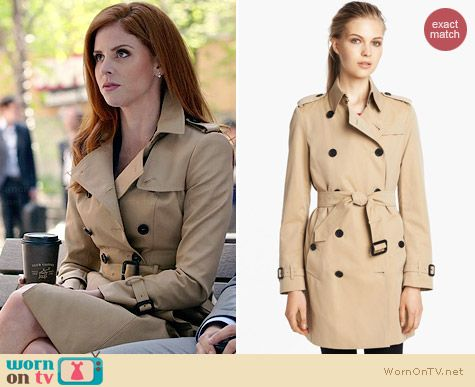 Burberry Gabardine Buckingham Trench worn by Sarah Rafferty on Suits