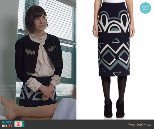 Burberry Geometric Knit Pencil Skirt worn by Laurel Healy on BrainDead