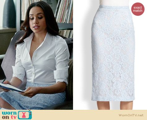 Burerry Prorsum Lace Pencil Skirt in Light Steel Blue worn by Meghan Markle on Suits