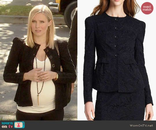 Burberry Lace Peplum Jacket worn by Kristen Bell on House of Lies