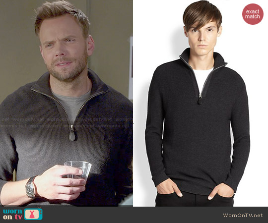 Burberry 'Lapworth' Half Zip Pullover in Dark-Grey worn by Joel McHale on Community
