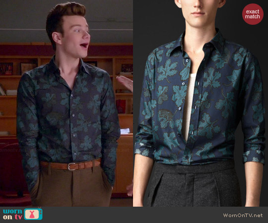 Burberry Leaf Print Cotton Silk Shirt worn by Chris Colfer on Glee